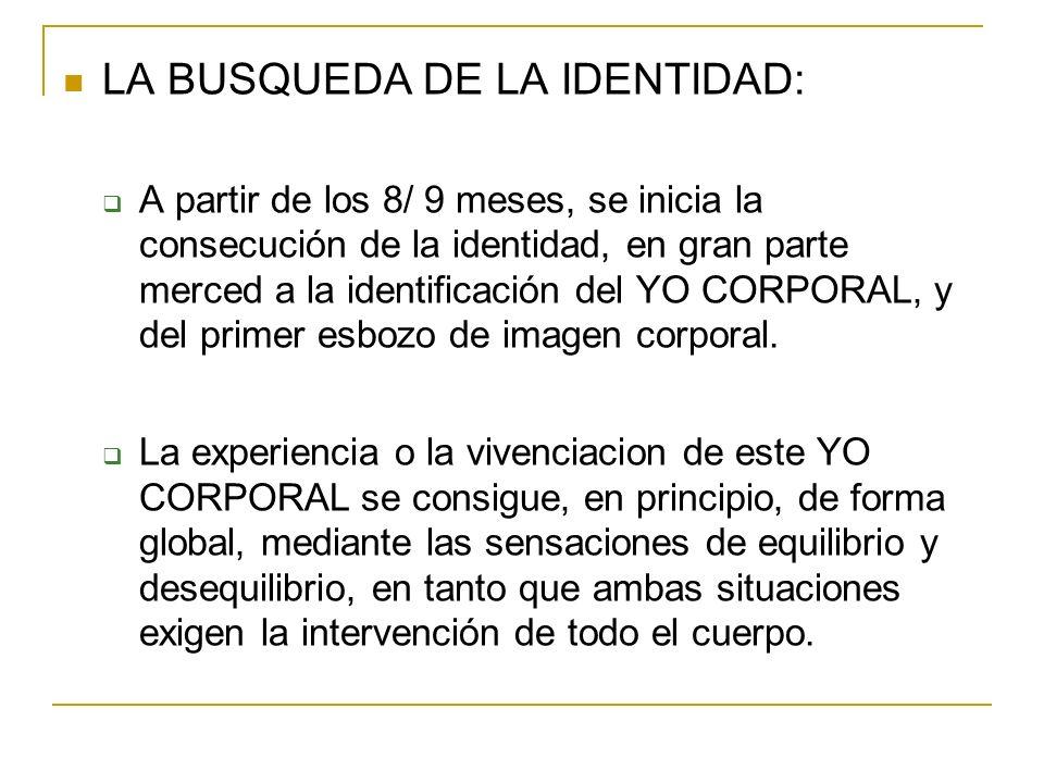LA BUSQUEDA DE LA IDENTIDAD: A partir de los 8/ 9 meses, se inicia la consecución de la identidad, en gran parte merced a la identificación del YO COR