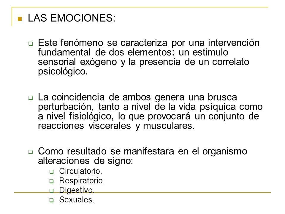 LAS EMOCIONES: Este fenómeno se caracteriza por una intervención fundamental de dos elementos: un estimulo sensorial exógeno y la presencia de un corr