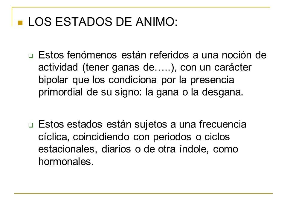 LOS ESTADOS DE ANIMO: Estos fenómenos están referidos a una noción de actividad (tener ganas de…..), con un carácter bipolar que los condiciona por la