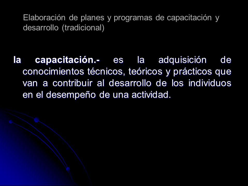 la capacitación.- es la adquisición de conocimientos técnicos, teóricos y prácticos que van a contribuir al desarrollo de los individuos en el desempe