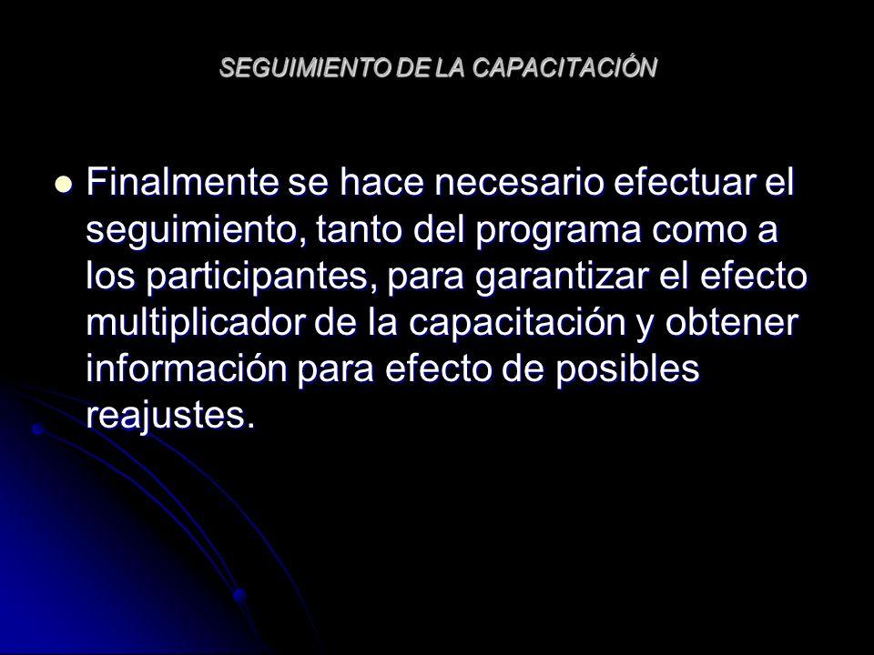 SEGUIMIENTO DE LA CAPACITACIÓN Finalmente se hace necesario efectuar el seguimiento, tanto del programa como a los participantes, para garantizar el e