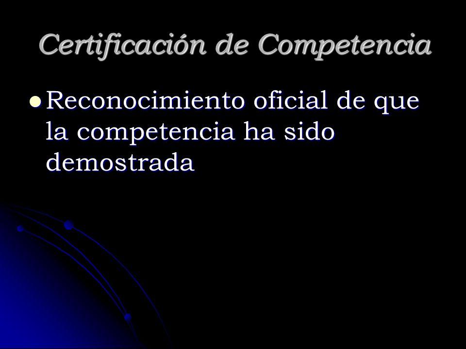 Certificación de Competencia Reconocimiento oficial de que la competencia ha sido demostrada Reconocimiento oficial de que la competencia ha sido demo