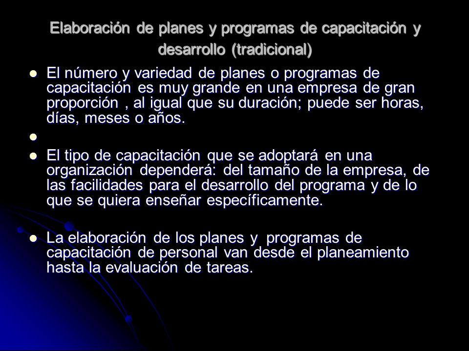 Elaboración de planes y programas de capacitación y desarrollo (tradicional) El número y variedad de planes o programas de capacitación es muy grande