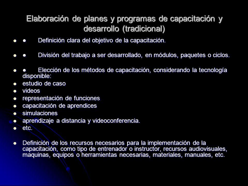 Elaboración de planes y programas de capacitación y desarrollo (tradicional) Definición clara del objetivo de la capacitación.Definición clara del obj