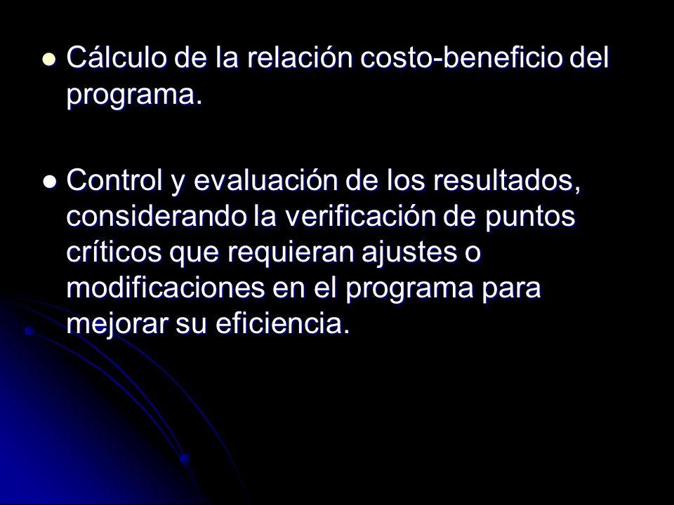 Cálculo de la relación costo-beneficio del programa. Cálculo de la relación costo-beneficio del programa. Control y evaluación de los resultados, cons