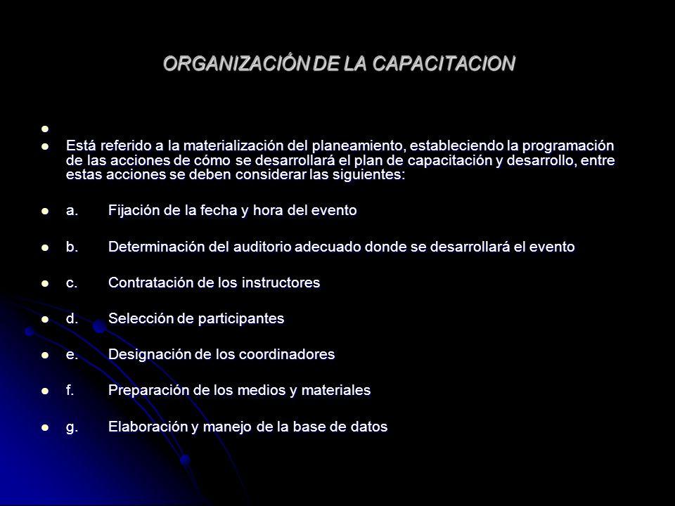 ORGANIZACIÓN DE LA CAPACITACION Está referido a la materialización del planeamiento, estableciendo la programación de las acciones de cómo se desarrol