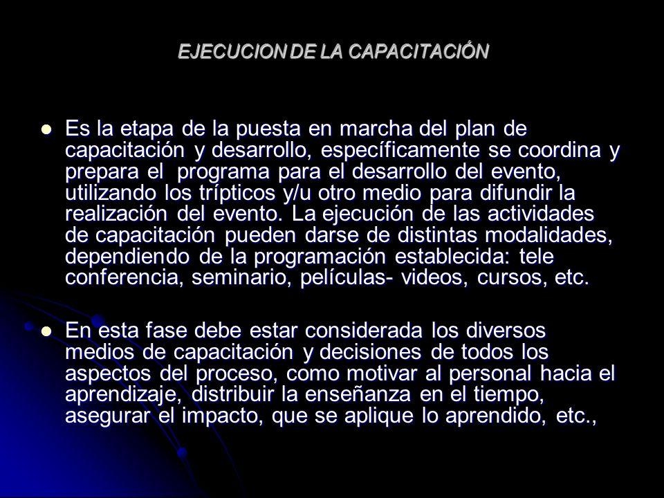 EJECUCION DE LA CAPACITACIÓN Es la etapa de la puesta en marcha del plan de capacitación y desarrollo, específicamente se coordina y prepara el progra