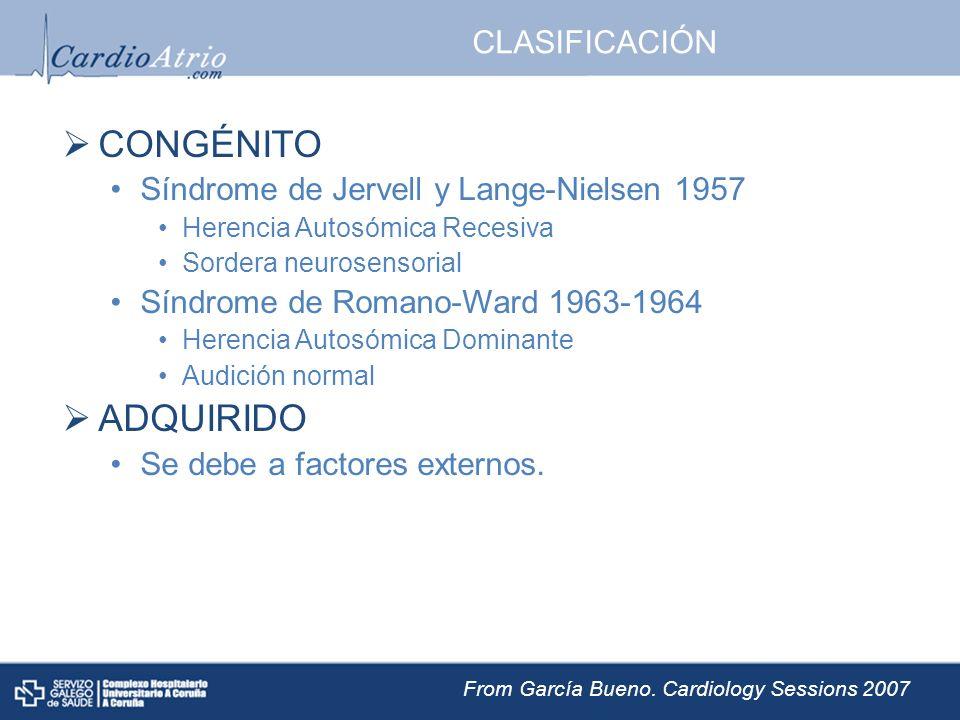 CLASIFICACIÓN CONGÉNITO Síndrome de Jervell y Lange-Nielsen 1957 Herencia Autosómica Recesiva Sordera neurosensorial Síndrome de Romano-Ward 1963-1964