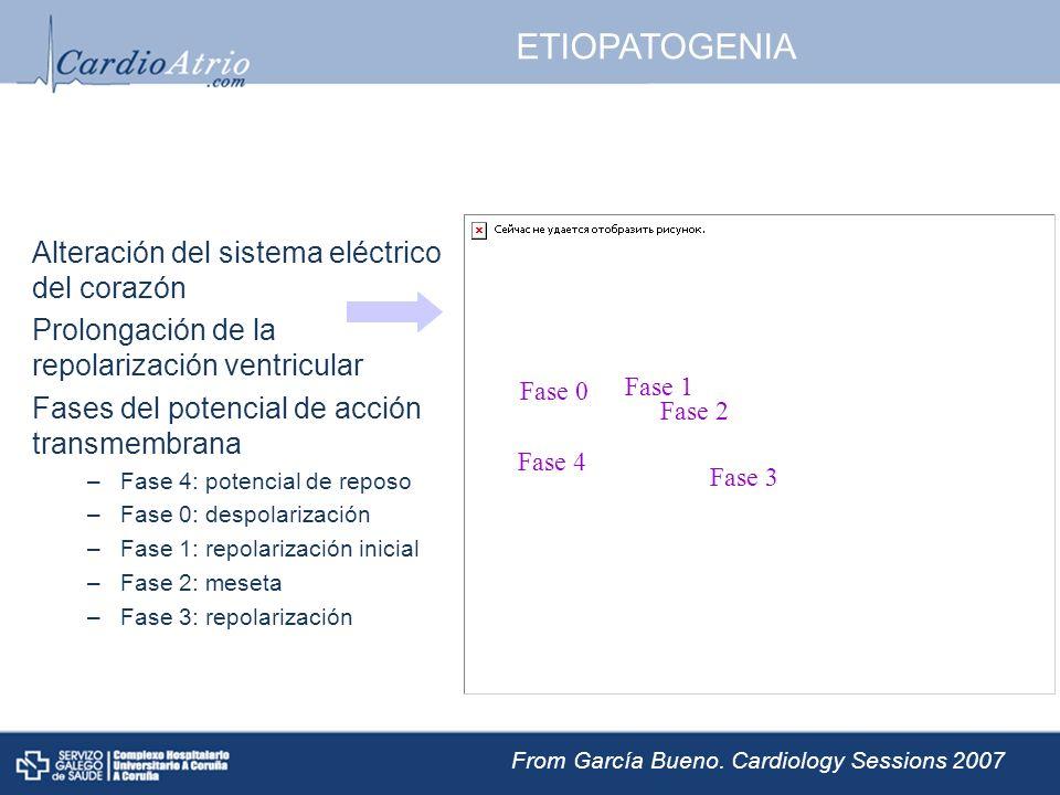 ETIOPATOGENIA Alteración del sistema eléctrico del corazón Prolongación de la repolarización ventricular Fases del potencial de acción transmembrana –