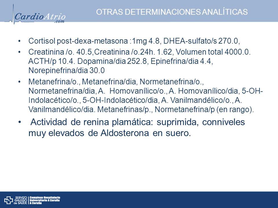 OTRAS DETERMINACIONES ANALÍTICAS Cortisol post-dexa-metasona :1mg 4.8, DHEA-sulfato/s 270.0, Creatinina /o. 40.5,Creatinina /o.24h. 1.62, Volumen tota