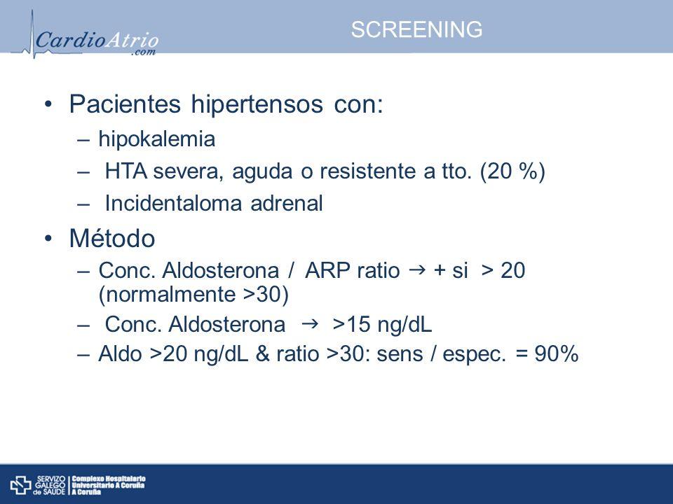 SCREENING Pacientes hipertensos con: –hipokalemia – HTA severa, aguda o resistente a tto. (20 %) – Incidentaloma adrenal Método –Conc. Aldosterona / A