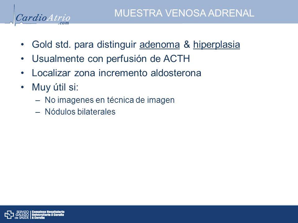 MUESTRA VENOSA ADRENAL Gold std. para distinguir adenoma & hiperplasia Usualmente con perfusión de ACTH Localizar zona incremento aldosterona Muy útil