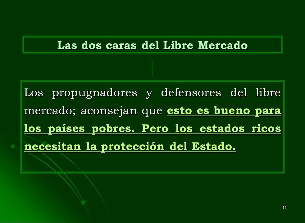 11 Las dos caras del Libre Mercado Los propugnadores y defensores del libre mercado; aconsejan que esto es bueno para los países pobres. Pero los esta