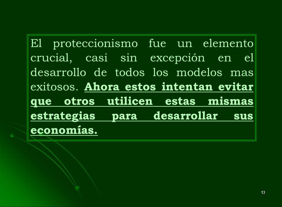 13 El proteccionismo fue un elemento crucial, casi sin excepción en el desarrollo de todos los modelos mas exitosos. Ahora estos intentan evitar que o