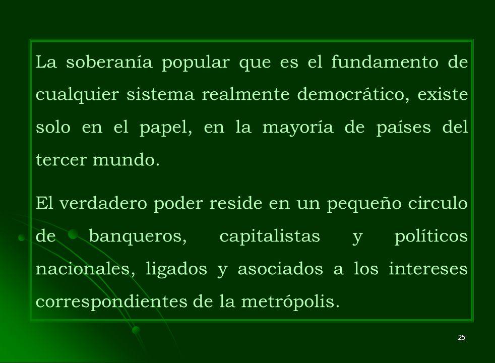 25 La soberanía popular que es el fundamento de cualquier sistema realmente democrático, existe solo en el papel, en la mayoría de países del tercer m