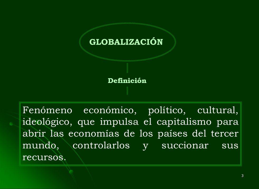 3 GLOBALIZACIÓN Definición Fenómeno económico, político, cultural, ideológico, que impulsa el capitalismo para abrir las economías de los países del t