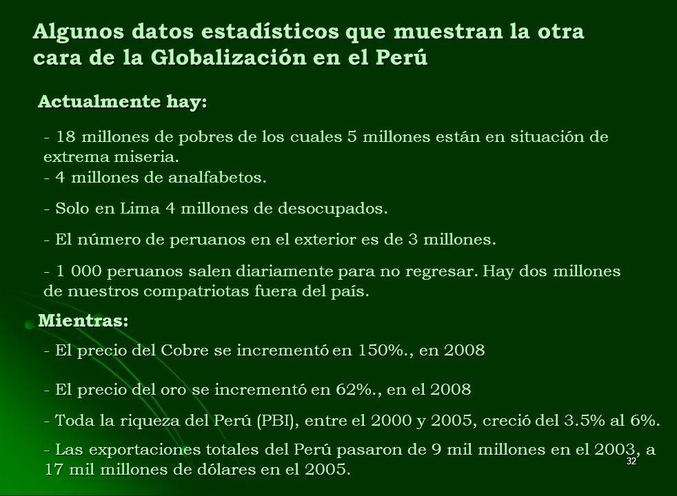 32 Algunos datos estadísticos que muestran la otra cara de la Globalización en el Perú Actualmente hay: - 18 millones de pobres de los cuales 5 millon