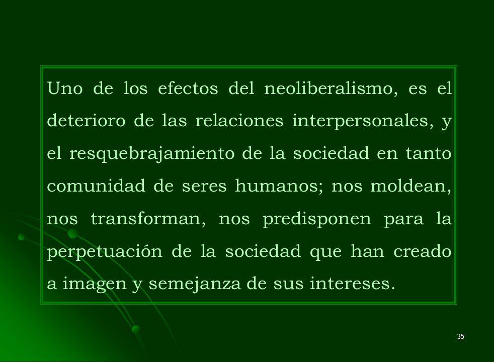 35 Uno de los efectos del neoliberalismo, es el deterioro de las relaciones interpersonales, y el resquebrajamiento de la sociedad en tanto comunidad