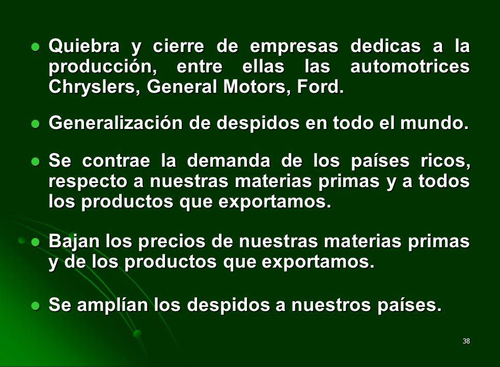 38 Quiebra y cierre de empresas dedicas a la producción, entre ellas las automotrices Chryslers, General Motors, Ford. Quiebra y cierre de empresas de