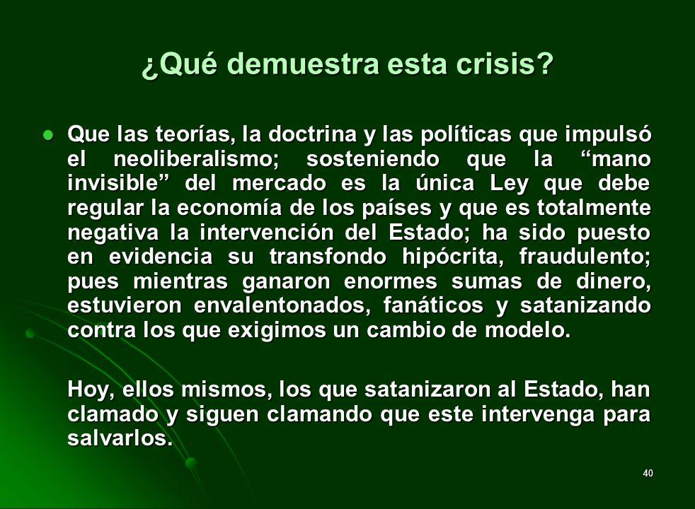 40 ¿Qué demuestra esta crisis? Que las teorías, la doctrina y las políticas que impulsó el neoliberalismo; sosteniendo que la mano invisible del merca