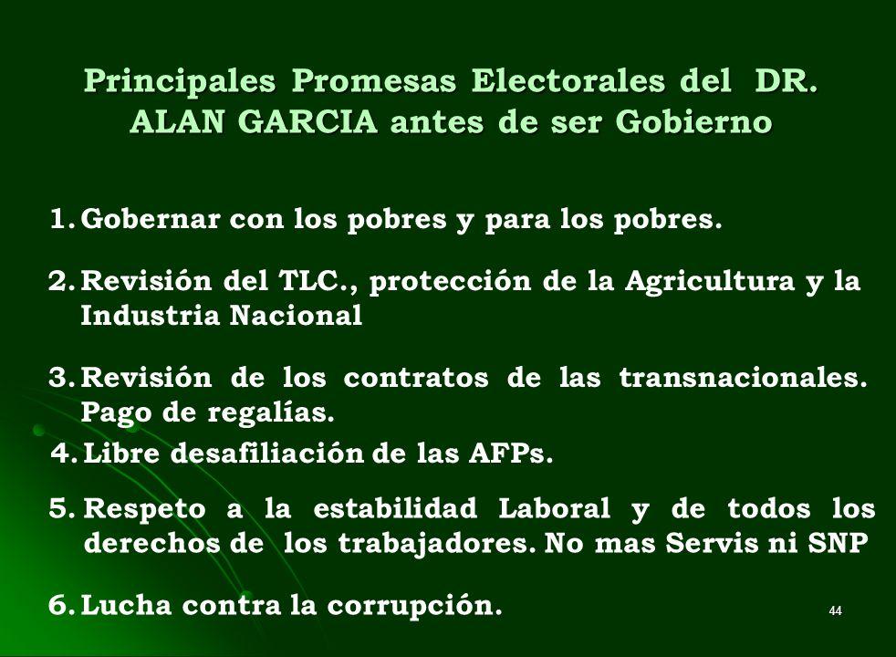 44 Principales Promesas Electorales del DR. ALAN GARCIA antes de ser Gobierno 1.Gobernar con los pobres y para los pobres. 2.Revisión del TLC., protec