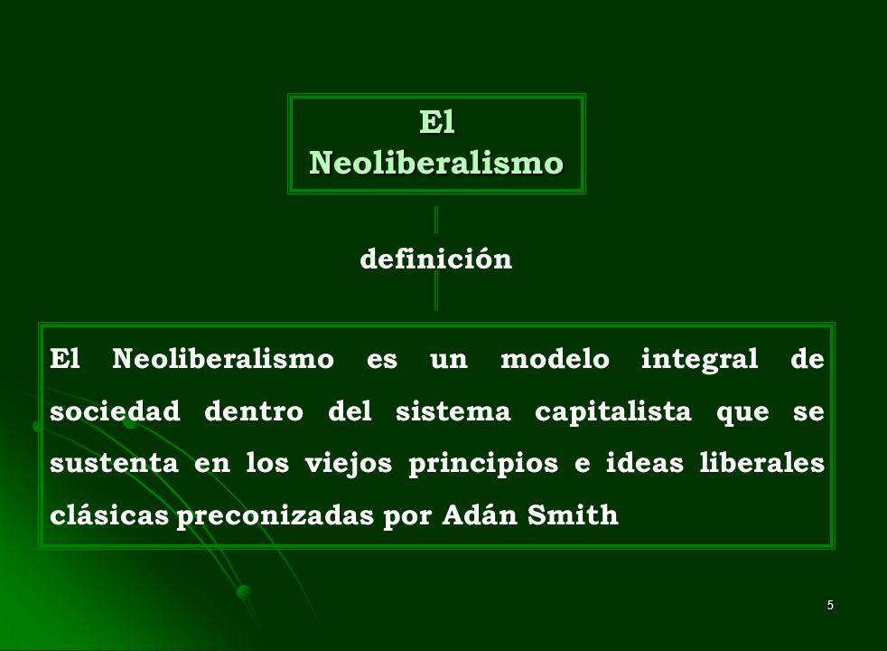 5 El Neoliberalismo definición El Neoliberalismo es un modelo integral de sociedad dentro del sistema capitalista que se sustenta en los viejos princi