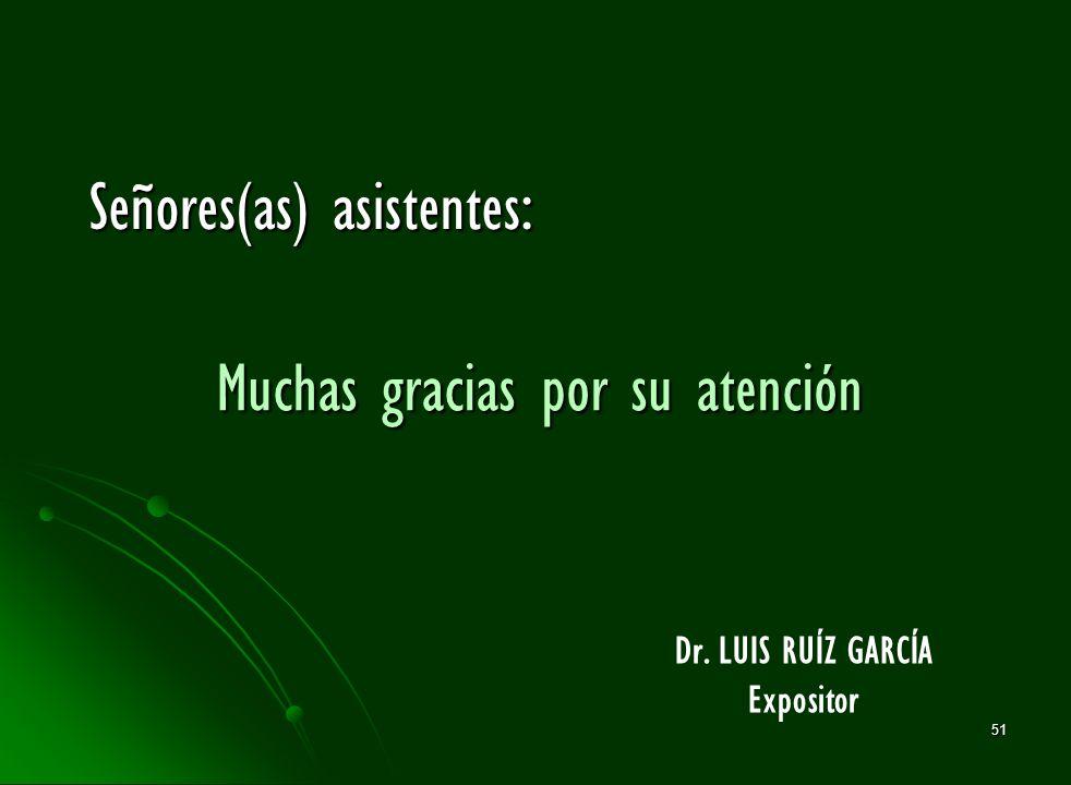 51 Muchas gracias por su atención Dr. LUIS RUÍZ GARCÍA Expositor Señores(as) asistentes: