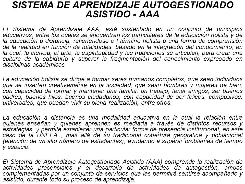 SISTEMA DE APRENDIZAJE AUTOGESTIONADO ASISTIDO - AAA El Sistema de Aprendizaje AAA, está sustentado en un conjunto de principios educativos, entre los