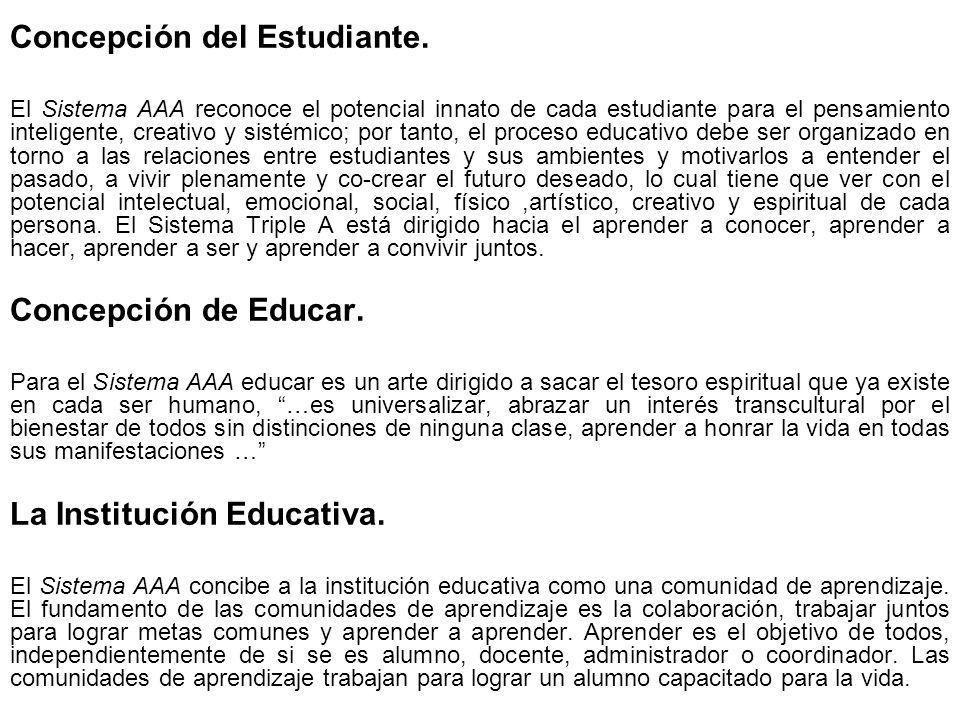 Concepción del Estudiante. El Sistema AAA reconoce el potencial innato de cada estudiante para el pensamiento inteligente, creativo y sistémico; por t
