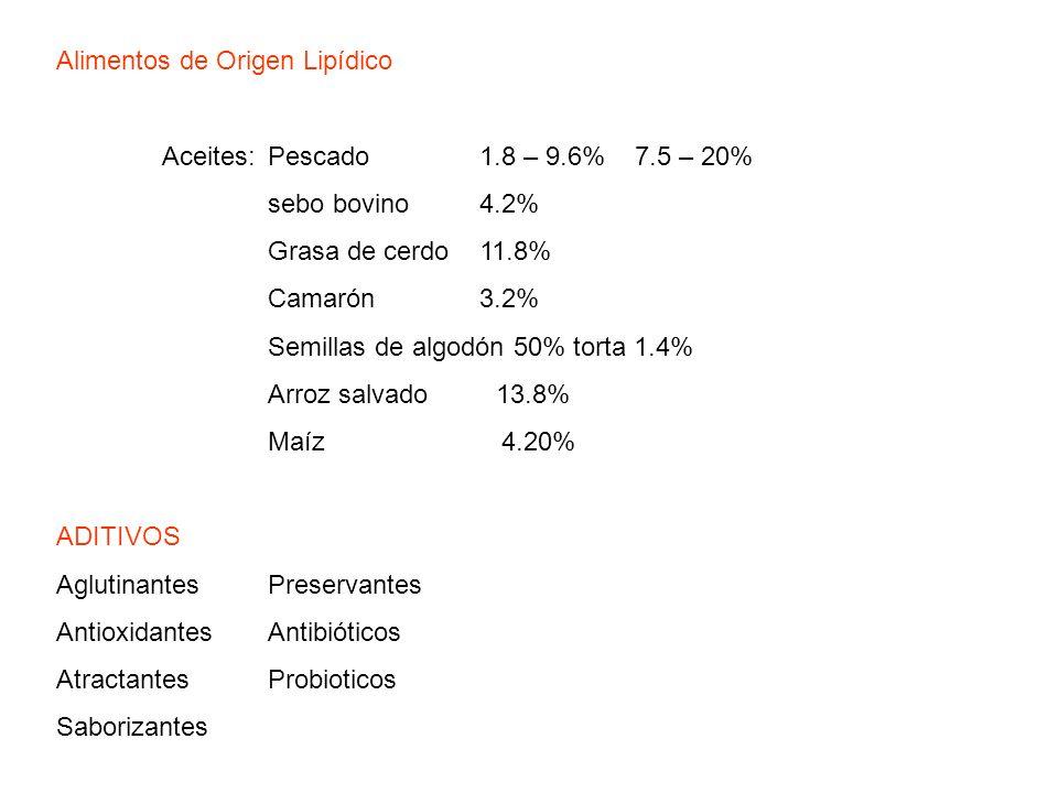 Alimentos de Origen Lipídico Aceites:Pescado1.8 – 9.6% 7.5 – 20% sebo bovino 4.2% Grasa de cerdo11.8% Camarón3.2% Semillas de algodón 50% torta 1.4% A