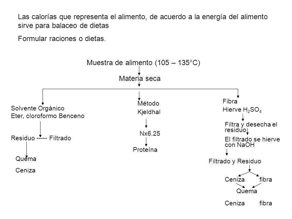 Las calorías que representa el alimento, de acuerdo a la energía del alimento sirve para balaceo de dietas Formular raciones o dietas. Muestra de alim