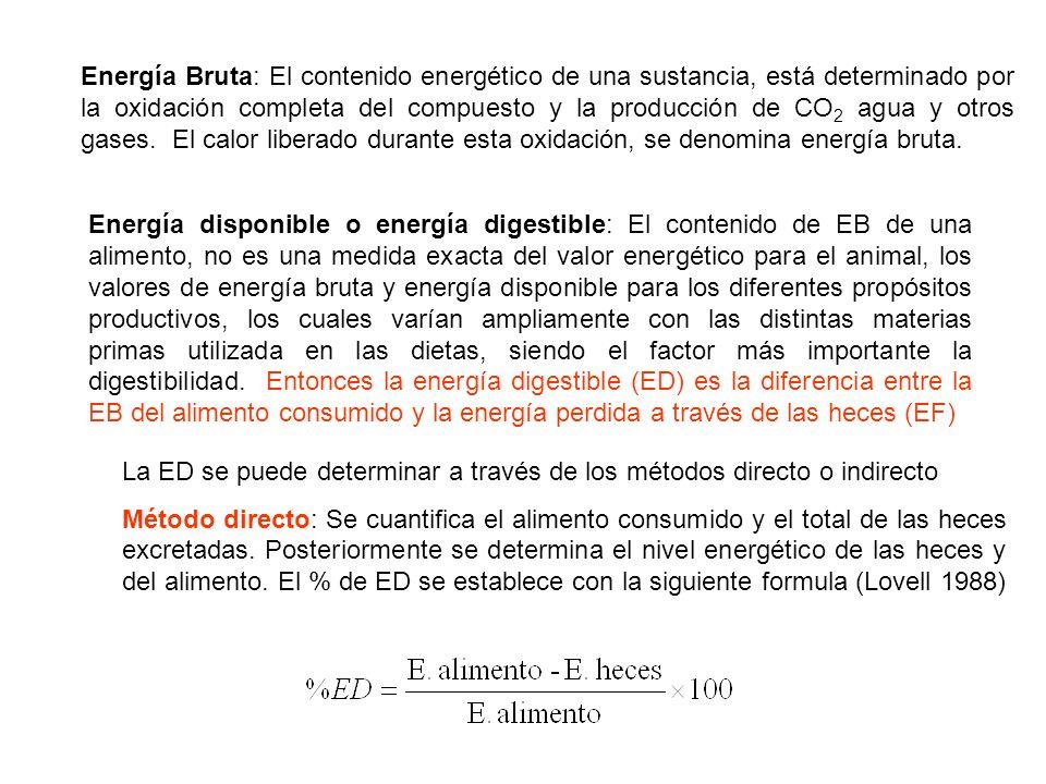 Energía Bruta: El contenido energético de una sustancia, está determinado por la oxidación completa del compuesto y la producción de CO 2 agua y otros