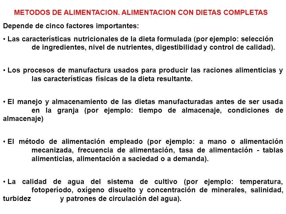 METODOS DE ALIMENTACION. ALIMENTACION CON DIETAS COMPLETAS Depende de cinco factores importantes: Las características nutricionales de la dieta formul