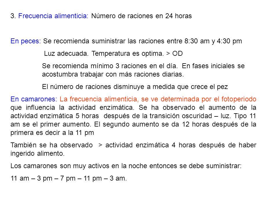 3. Frecuencia alimenticia: Número de raciones en 24 horas En peces: Se recomienda suministrar las raciones entre 8:30 am y 4:30 pm Luz adecuada. Tempe