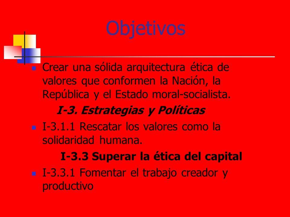 Objetivos Crear una sólida arquitectura ética de valores que conformen la Nación, la República y el Estado moral-socialista. I-3. Estrategias y Políti