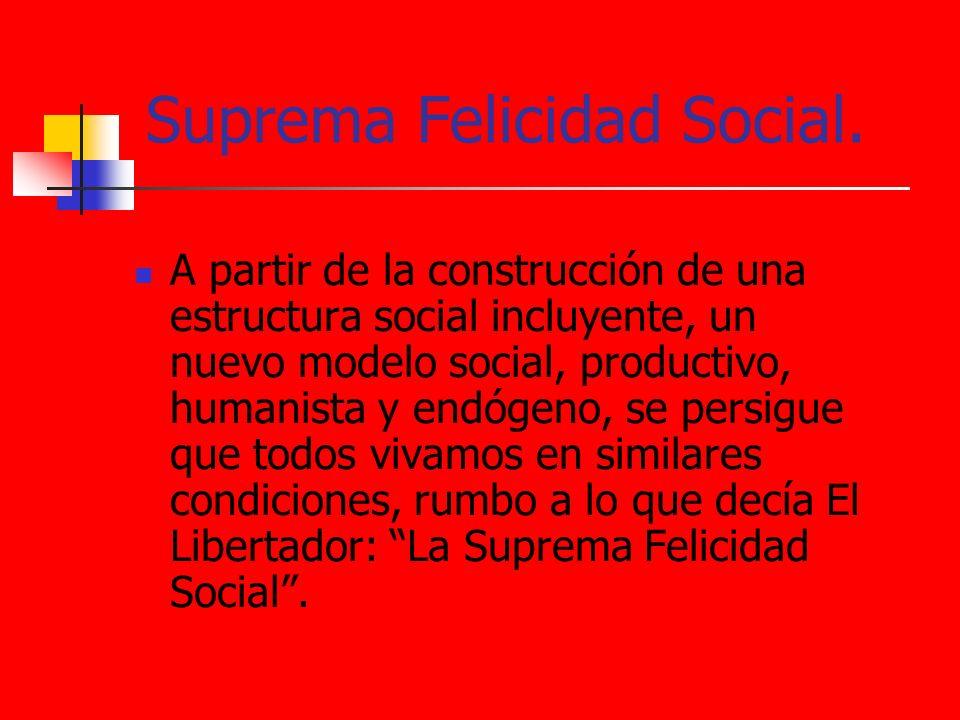 Suprema Felicidad Social. A partir de la construcción de una estructura social incluyente, un nuevo modelo social, productivo, humanista y endógeno, s