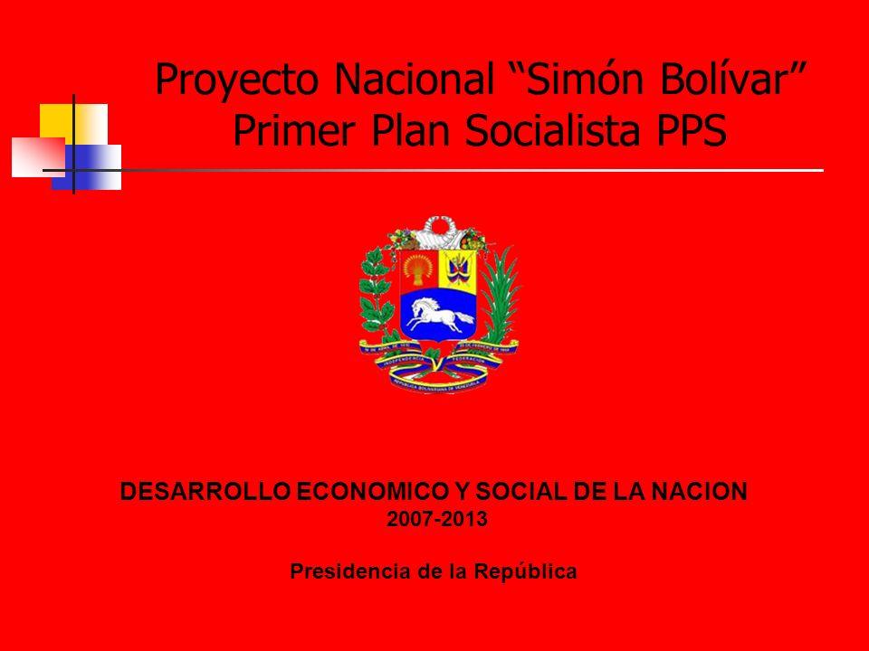 DESARROLLO ECONOMICO Y SOCIAL DE LA NACION 2007-2013 Presidencia de la República Proyecto Nacional Simón Bolívar Primer Plan Socialista PPS