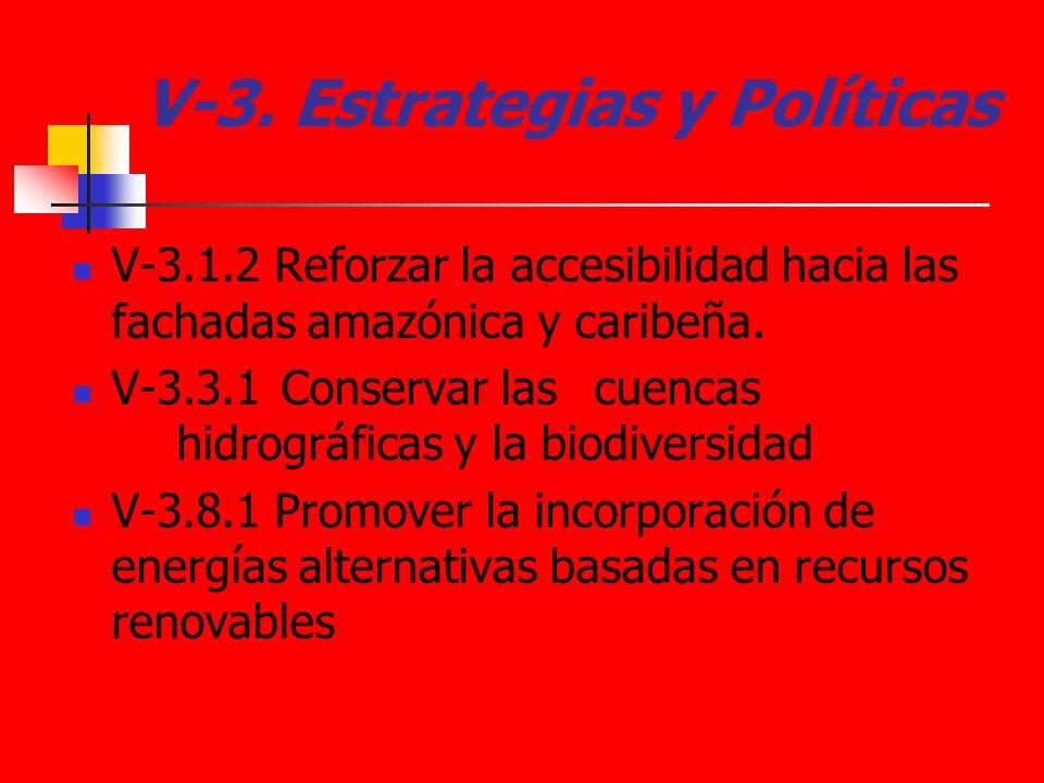 V-3. Estrategias y Políticas V-3.1.2 Reforzar la accesibilidad hacia las fachadas amazónica y caribeña. V-3.3.1 Conservar las cuencas hidrográficas y