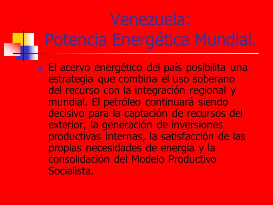 Venezuela: Potencia Energética Mundial. El acervo energético del país posibilita una estrategia que combina el uso soberano del recurso con la integra