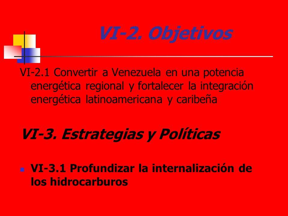 VI-2. Objetivos VI-2.1 Convertir a Venezuela en una potencia energética regional y fortalecer la integración energética latinoamericana y caribeña VI-
