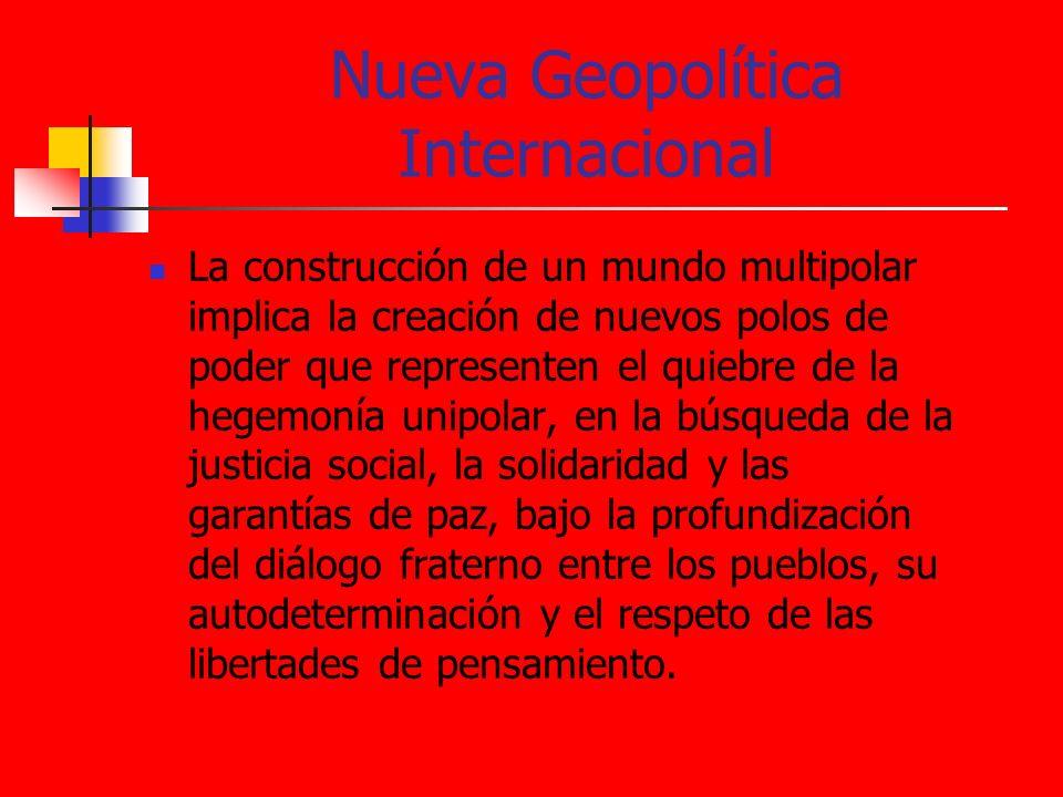 Nueva Geopolítica Internacional La construcción de un mundo multipolar implica la creación de nuevos polos de poder que representen el quiebre de la h