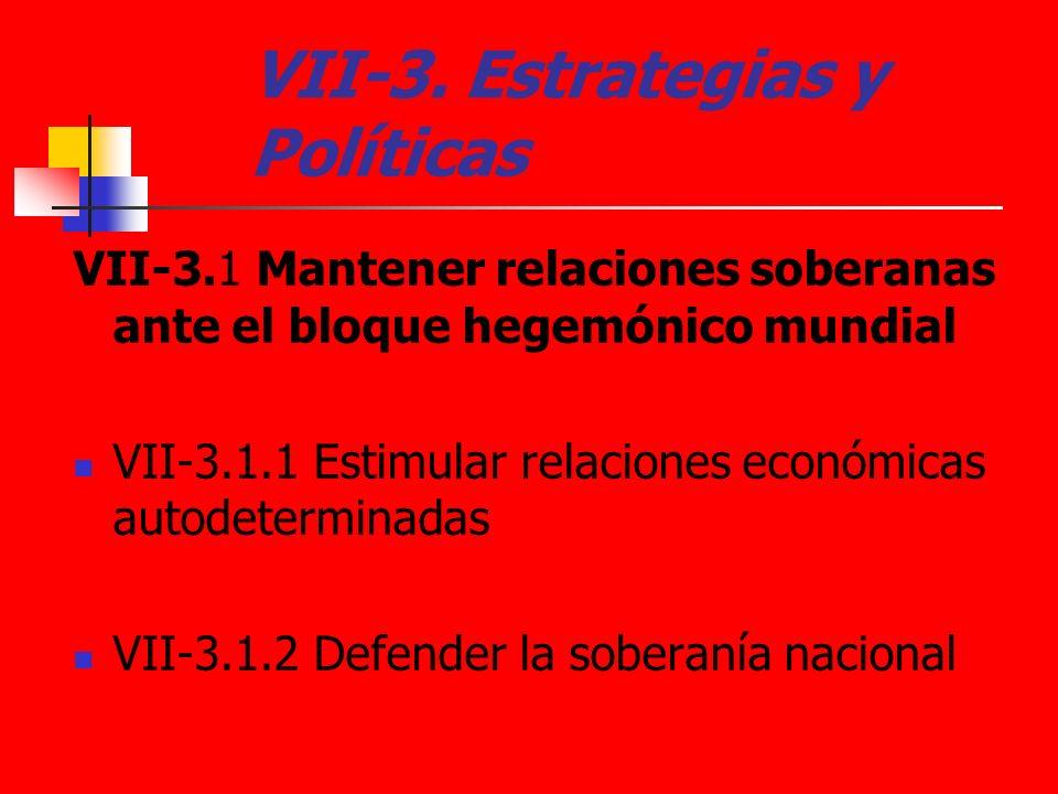 VII-3. Estrategias y Políticas VII-3.1 Mantener relaciones soberanas ante el bloque hegemónico mundial VII-3.1.1 Estimular relaciones económicas autod