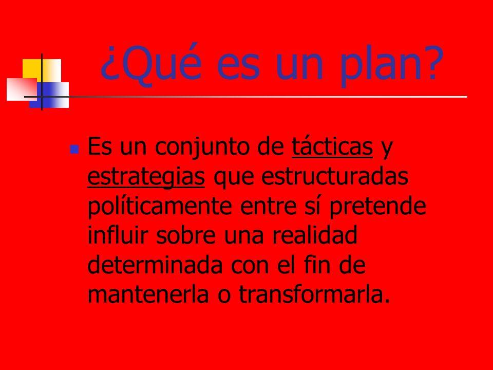 ¿Qué es un plan? Es un conjunto de tácticas y estrategias que estructuradas políticamente entre sí pretende influir sobre una realidad determinada con