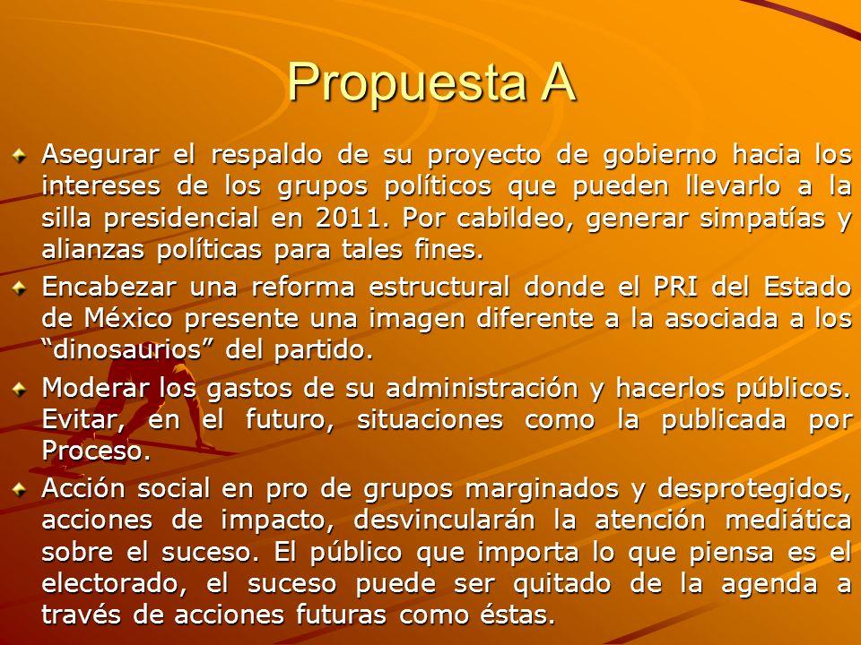 Propuesta A Asegurar el respaldo de su proyecto de gobierno hacia los intereses de los grupos políticos que pueden llevarlo a la silla presidencial en 2011.