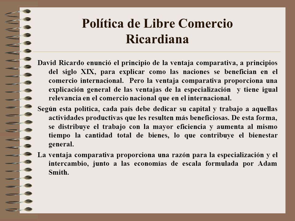 Política de Libre Comercio Ricardiana David Ricardo enunció el principio de la ventaja comparativa, a principios del siglo XIX, para explicar como las