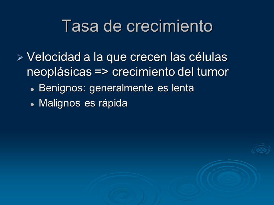 Tasa de crecimiento Velocidad a la que crecen las células neoplásicas => crecimiento del tumor Velocidad a la que crecen las células neoplásicas => cr