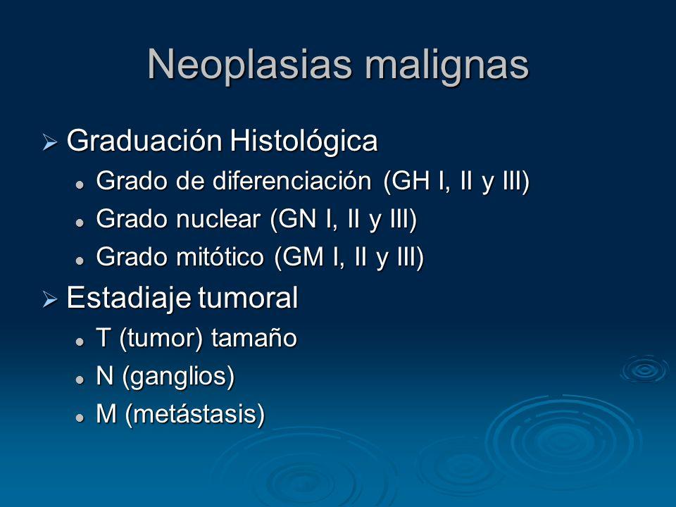 Neoplasias malignas Graduación Histológica Graduación Histológica Grado de diferenciación (GH I, II y III) Grado de diferenciación (GH I, II y III) Gr