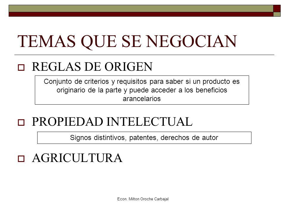 Econ. Milton Oroche Carbajal TEMAS QUE SE NEGOCIAN REGLAS DE ORIGEN PROPIEDAD INTELECTUAL AGRICULTURA Conjunto de criterios y requisitos para saber si
