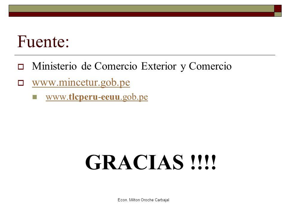 Econ. Milton Oroche Carbajal Fuente: Ministerio de Comercio Exterior y Comercio www.mincetur.gob.pe www.tlcperu-eeuu.gob.pe www.tlcperu-eeuu.gob.pe GR