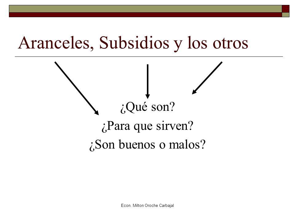 Econ. Milton Oroche Carbajal Aranceles, Subsidios y los otros ¿Qué son? ¿Para que sirven? ¿Son buenos o malos?